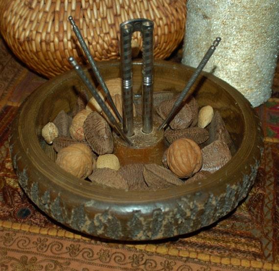 Nut Bowl Set, Log, Rustic, re-purpose Bonsai planter