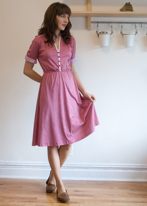 Pinstriped Vintage Day Dress
