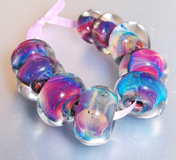 Lampwork Beads Silver Rainbow Collection (9)