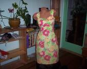 Dress. Womans size 16  pink yellow green summer dress          Summer Sale