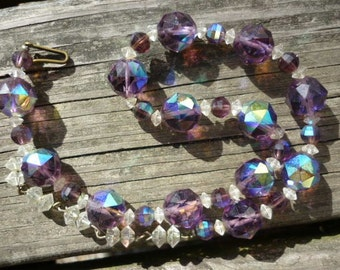 Stunning Amethyst Crystal vintage Necklace ,AB Purple Crystal Choker Necklace
