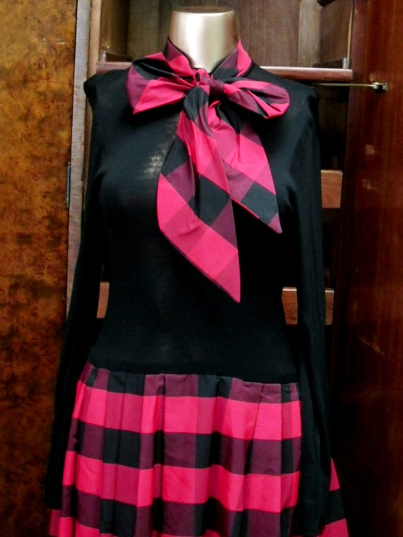 Vintage Dress Red And Black Checkered Pattern