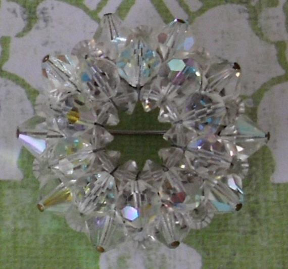 Vintage Crystal Beaded Brooch