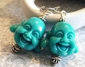 Aqua Smiling Buddha Earrings