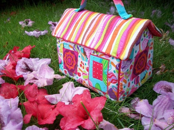 Handmade Fabric Basket Pattern : Handmade fabric dollhouse purse tote basket for child or