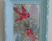 SALE-Vintage Winter Cardinals-Holiday Decor