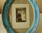 Shabby Chic Cottage Turquoise Frame and Vintage Photo