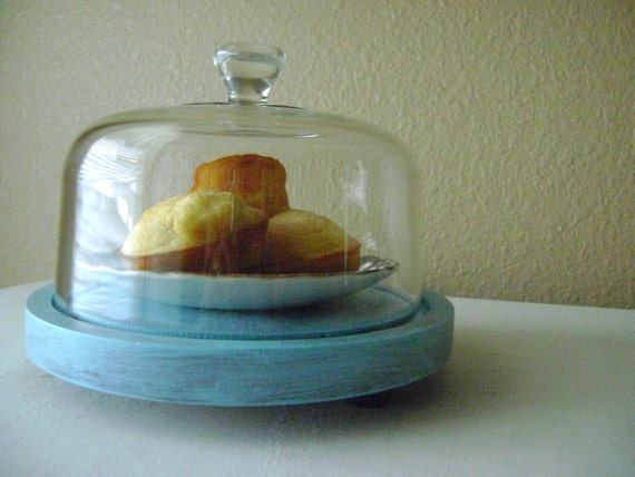 Shabby Chic Turquoise Cloche-Kitchen Display-Glass Dome-Thanksgiving