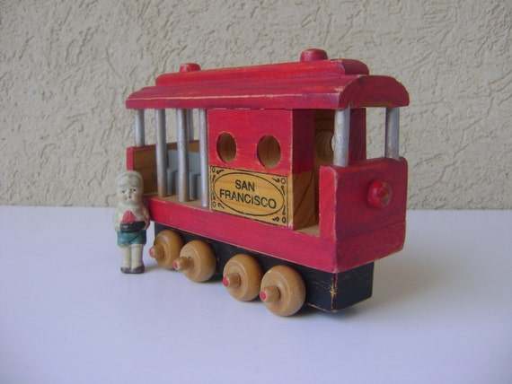 Vintage Wooden Toy San Francisco Trolley Car-Kids Gift-Boy's Room Decor-Collectible Toy