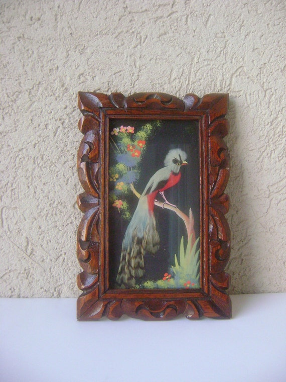 Vintage Mixed Media Bird Painting Made In Mexico 1940's 1950's Wall Art-Carved Wood Frame