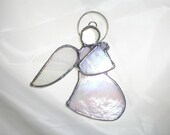 LT Stained glass white Angel sun light catcher made with white iridescent glass and wispy wing