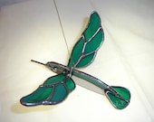 LT Stained glass 3 D Hummingbird aqua suncatcher light catcher made with iridescent turquoise aqua streaked glass - UniqueStainedGlass