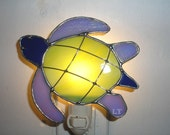 LT Stained glass blue green Turtle night light lamp land or sea turtle streaked green iridescent light lilac cobalt blue