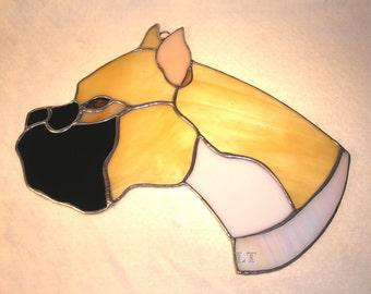 LT Stained glass tan Boxer dog head suncatcher light catcher with iridescent white collar