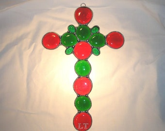 LT Stained Glass nugget Cross sun catcher light catcher window hanging made with small and large green and red glass nuggets 10 x 6