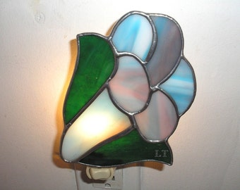 LT stained glass blue Trumpet flower night light lamp mix aqua, turquoise, mauve, white opal glass