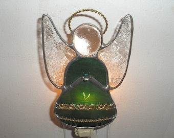 LT Stained glass green Angel night light lamp made with iridescent green streaked glass and brass banding trim