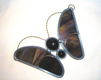 LT Stained glass purple maroon Butterfly sun catcher light catcher made with mauve glass nuggets
