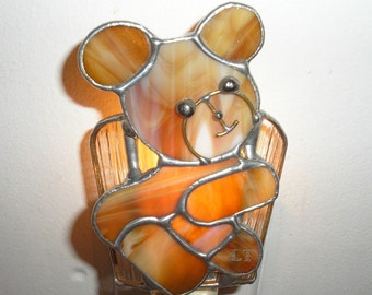 LT Stained glass night light lamp Bear tan with clear background indoor lighting wall lighting