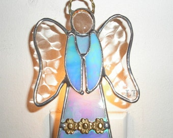 LT Stained glass Angel lamp night light made with iridescent light blue glass, brass banding