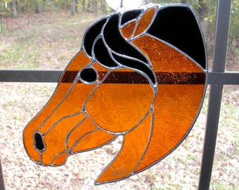 LT Stained glass red rust Horse Head sun catcher window hanging with black mane 7 x 10