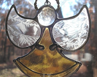 LT Stained glass yellow Angel sun catcher light catcher with clear textured wings, glass nugget