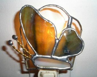 LT Stained glass Butterfly night light lamp made with streaked brown green with a dash of aqua semi opal glass