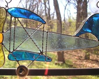 LT Stained glass blue Biplane sun catcher light catcher light blue , dark blue, yellow