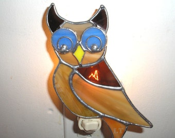 LT Stained glass Owl night light lamp made with with blue, burnt orange, dark beige and yellow