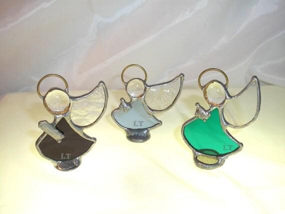 LT Stained glass 3 mini Angel ornaments aqua turquoise cranberry light blue