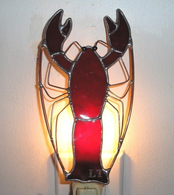 LT Stained glass red Lobster night light lamp mud bug made with a beautiful dark red glass