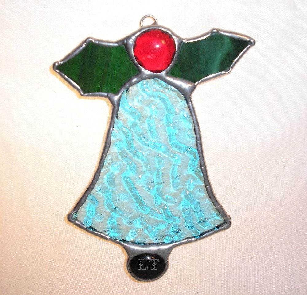 LT Stained glass Christmas bell turquoise aqua suncatcher