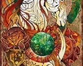 Fantasy Art Nouveau Painting - Emberis, Keeper of Fire  (16 X 20)