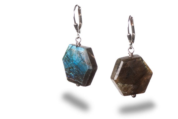 Labradorite and Sterling Silver Leverbacks - Play of Light