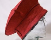Beret Hat Wool Felt Red and Black