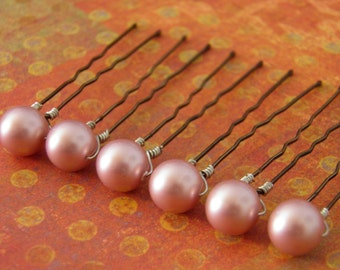 6 Powder Rose Pink 10mm Swarovski Crystal Pearl Hair Pins