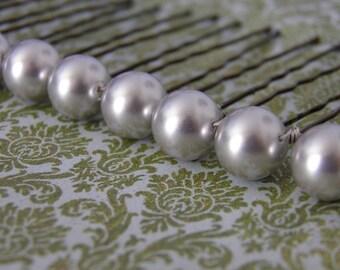 6 Silver Grey 10mm Swarovski Crystal Pearl Hair Pins