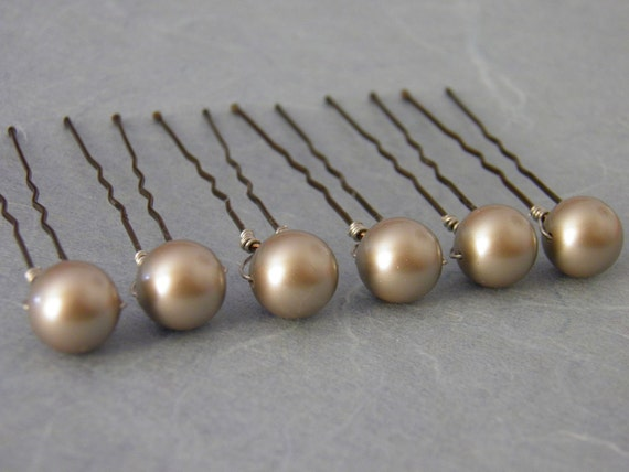 6 Platinum 10mm Swarovski Crystal Pearl Hair Pins