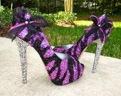 Zebra Pink & Black Glitter Heels