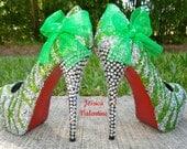 Zebra Light Green & Silver Glitter Heels
