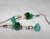 Turquoise and Gold Earrings - Turquoise Crystal Rondelles with Amazonite Chips and Gold Bead Caps - Amazon Jungle Earrings