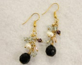 Gold and Black Dangly Earrings
