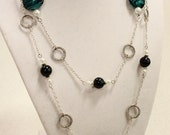 Long Blue and Silver Necklace - Blue Glass Beads with White Pearls and Twisted Jump Rings - Ocean Waves