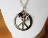 Large Silver Peace Sign Necklace - Peace Sign and Bird Charm and a Purple Glass Rondelle on Silver Toned Rolo Chain - Hippie Necklace