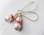 Pink Pearl Earrings - Simple Pink Glass Pearl Earrings with Bright Pink Rhinestone Spacers on Silver Kidney Wires