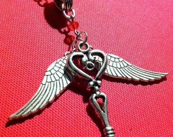 Silver Flying Heart Key Necklace - Tibetan Silver Key and Wings with Red Swarovski Crystals - Valentine's Day Gift