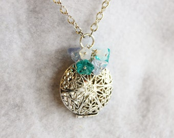 Silver and Blue Flower Filigree Locket Necklace