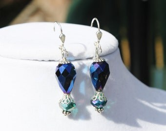 Dark Blue and Teal Crystal Earrings - Faceted Crystal Briolettes with Teal Crystal Rondelles on Silver Lever Back Hooks