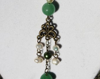 CLEARANCE - Pearly Whites and Greens Necklace - Green Aventurine Beads and White Freshwater Pearls Hang on an Antique Bronze Connector