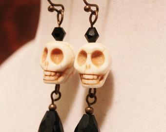 Skull Earrings - White Howlite Skull Beads - Goth Death Halloween Day of the Dead Earrings